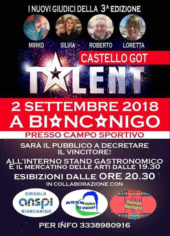 """Terza edizione di """"Castello Got Talent"""", Domenica 2 Settembre a Biancanigo"""
