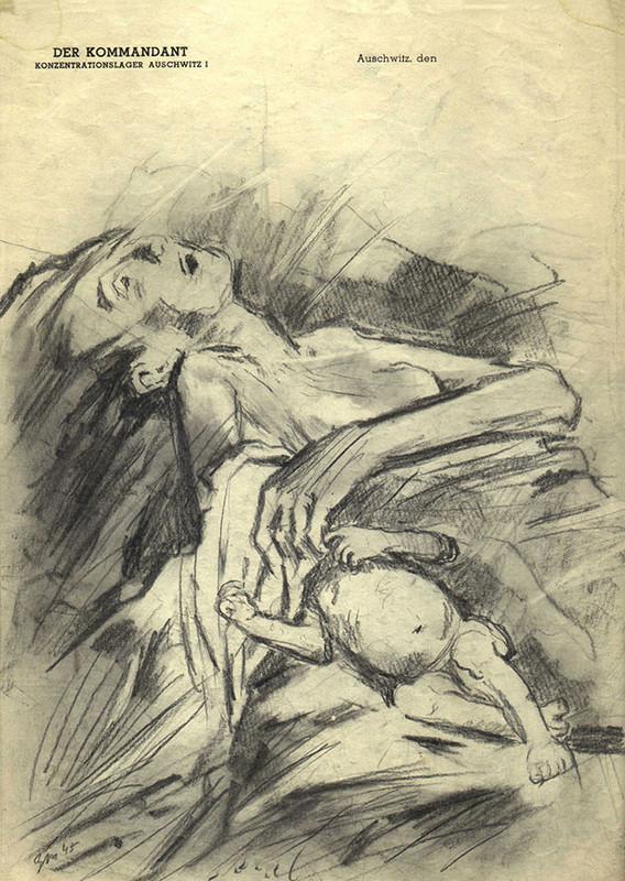 Una madre y su bebé, 1945